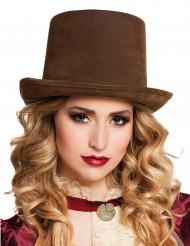 Chapeau haut de forme marron adulte Steampunk