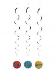 3 Décorations à suspendre Party holographiques 60 cm