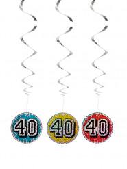 3 Décorations à suspendre 40 holographiques 60 cm