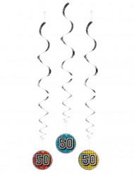 3 Décorations à suspendre 50 holographiques 60 cm