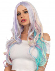 Perruque luxe wavy pastel licorne femme