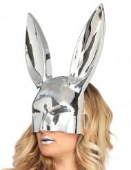 Masque lapin chromé argent adulte
