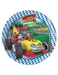 8 Petites assiettes en carton Mickey Racing™ 20 cm