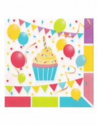 12 Serviettes en papier ouate Ballons d'anniversaire 33 x 33 cm