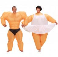 Déguisement de couple humour ballerine et bodybuilder gonflable
