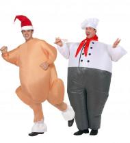 Déguisement couple cuisinier et dinde gonflable