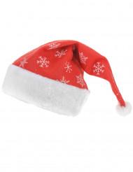 Bonnet rouge avec petits flocons scintillants adulte Noël 40 cm