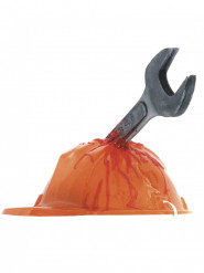 Casque chantier hache ensanglantée adulte Halloween