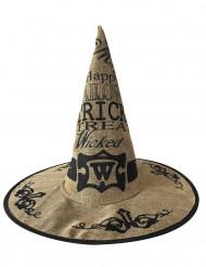Chapeau sorcière toile de jute adulte Halloween