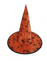 Chapeau sorcière toile d'araignée orange enfant Halloween