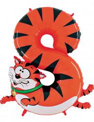 Ballon aluminium géant chiffre 8 chat 1 mètre