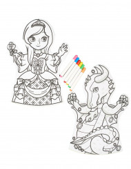 2 Marionnettes lavables à colorier et 6 feutres