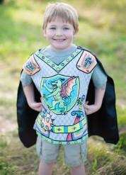 Tunique avec cape lavable à colorier chevalier dragon garçon