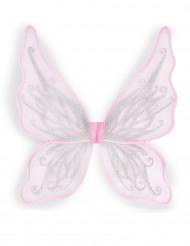 Ailes papillon roses avec paillettes argentées fille
