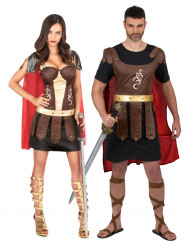 Déguisement de couple gladiateurs romains adulte