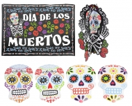 Kit 7 décorations Squelette coloré Dia de los muertos