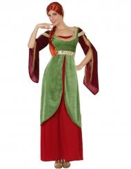 Déguisement dame médievale rouge et verte femme