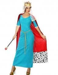 Déguisement reine médiévale bleue femme