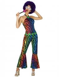 Déguisement disco léopard multicolore femme