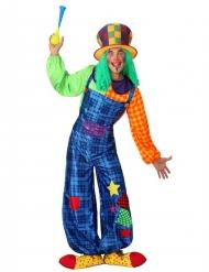 Déguisement clown patchwork bleu homme