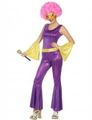 Déguisement disco holographique violet et or femme