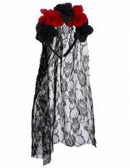Serre tête fleurs noir et rouge Dia De Los Muertos avec voile dentelle adulte