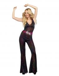 Déguisement luxe Disco sequins multicolores femme