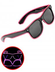 Lunettes années 50 lumineuses roses adulte
