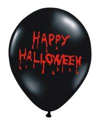 6 Ballons latex noirs Happy Halloween sanglant