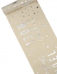 Chemin de table Joyeux Noël argent en coton 28 cm x 3 m