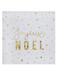 20 Serviettes en papier Joyeux Noël doré 25 x 25 cm