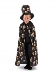Cape têtes de mort avec chapeau haut de forme enfant halloween