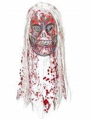 Masque zombie sanglant avec cheveux adulte Halloween