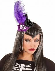 Mini chapeau haut de forme noir et violet adulte Dia de los muertos