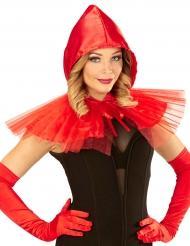Mini cape rouge avec capuche femme