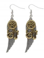 Boucles d'oreilles rouages et plumes adulte Steampunk