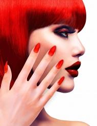 Faux ongles rouges adhésifs adulte