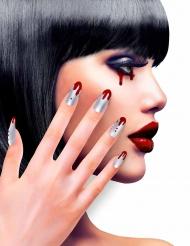 Faux ongles adhésifs argents ensanglantés femme Halloween