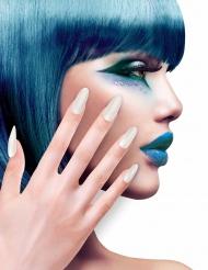 Faux ongles adhésifs blancs adulte