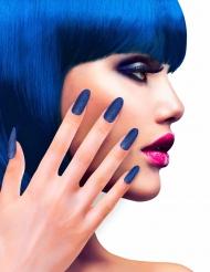 Faux ongles adhésifs bleus paillettés adulte
