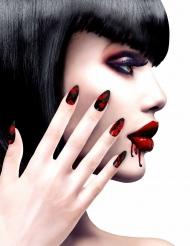 Faux ongles adhésifs noirs ensanglantés femme Halloween