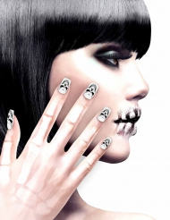 Faux ongles adhésifs squelette femme Halloween