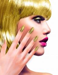 Faux ongles adhésifs dorés paillettés adulte