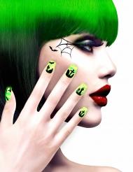 Faux ongles adhésifs cimetière verts adulte Halloween