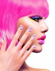 Faux ongles adhésifs flashy rayés adulte