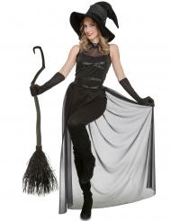 Déguisement combinaison sorcière noire femme