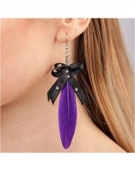 Boucles d'oreilles plume violette adulte