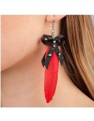Boucle d'oreilles plume rouge adulte