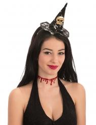 Mini chapeau de sorcière tête de mort Halloween femme