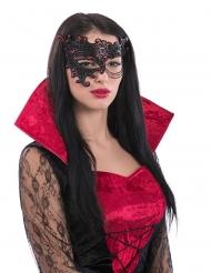 Demi-masque noir et rouge avec chaine femme